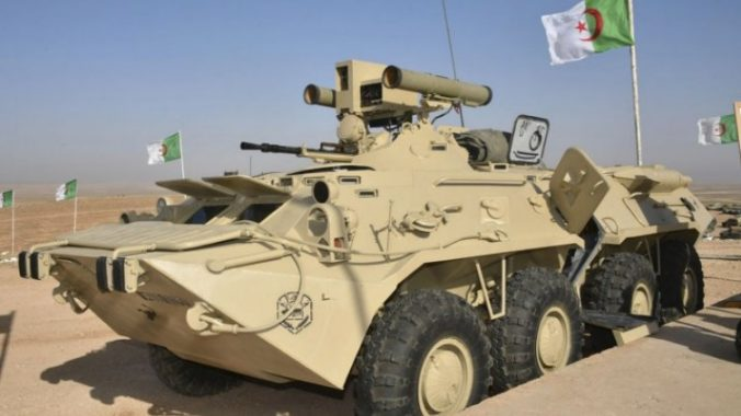 The Algerian local upgrading of the Russian BTR-80 Seen on Sakhr-2018 live fire exercise