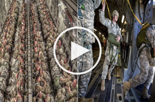Paratroopers Static Line Jump From C-17 Globemaster III