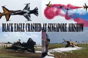 Korean Airforce plane ( Black Eagle T-50B ) crashed at Singapore Airshow 2