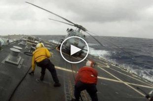 Video of unbelievable helicopter landing on ship deck in rough seas