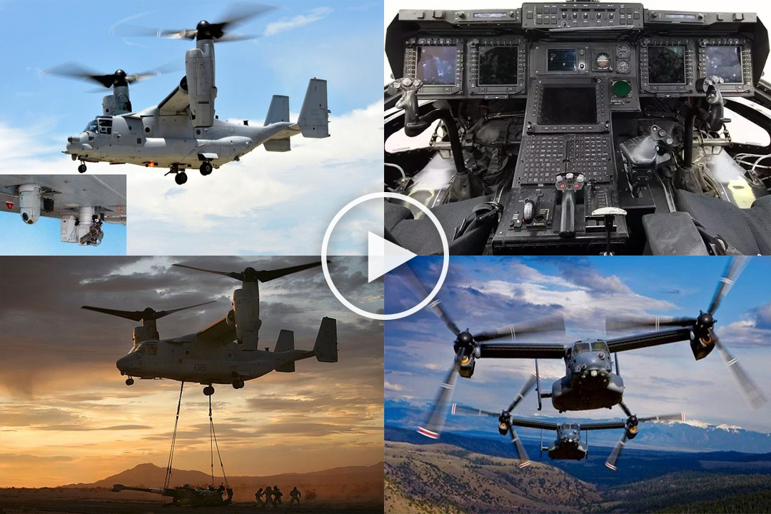 One of a kind U.S. Military V-22 Osprey Tilt Rotor Aircraft In Action