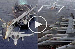 F-18 Hornet Fighter jet Aircraft Carrier Action