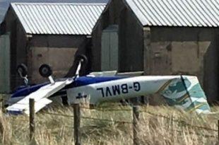 Light Aircraft crashes at Caernarfon Airport ,Two injured