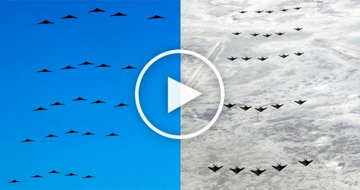 25 Lockheed F-117 Nighthawk Formation Flyby