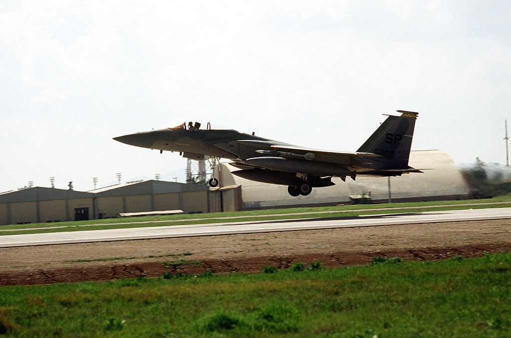 An F-15 fighter departs Incirlik Air Base during OPC