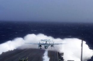 When S-2E Tracker Plane Launched Directly Into sea Wave