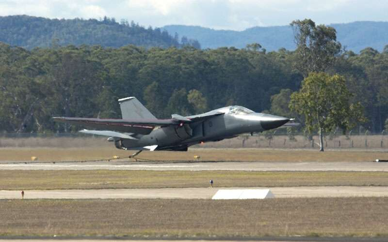 On March 2006 a General Dynamics F-111 Aardvark loses a wheel during takeoff  at Amberley RAAF base after Entire wheel including the whole rim, the Brake mechanism fallen off during takeoff Pilot Peter coma and air-combat officer luke warner was flying F-111.