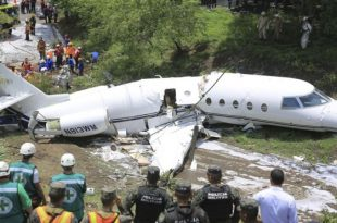 Gulfstream G200 jet splits in half in crash landing at Honduras -6 injured