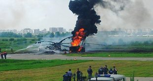 Mil Mi-26T helicopter caught fire during refueling