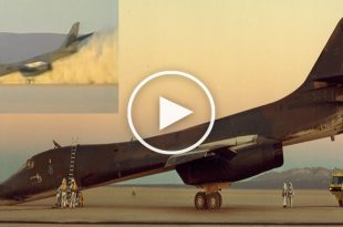 B-1B LANCER crash landing without nose gear at EDWARDS AFB