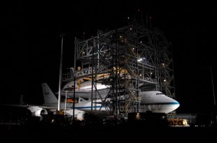 Space shuttle getting ready for flight