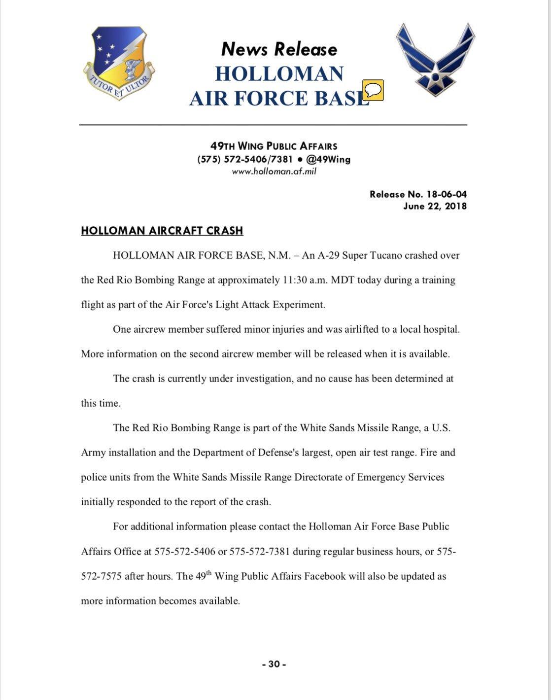 A-29 Super Tucano Crashed near Holloman Air Force Base