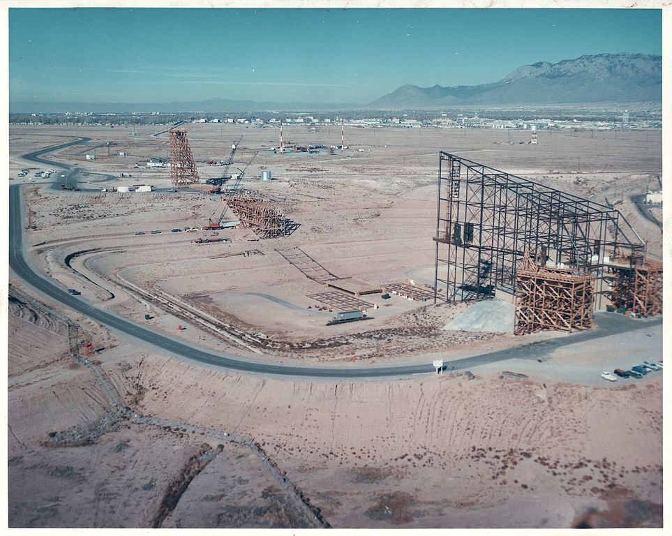 The Trestle facility under construction in 1975. The height of the termination tower was driven by the need to clear the tail of a C5A Galaxy transport.