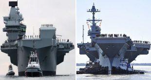 USS Gerald R Ford vs HMS Queen Elizabeth Aircraft carrier