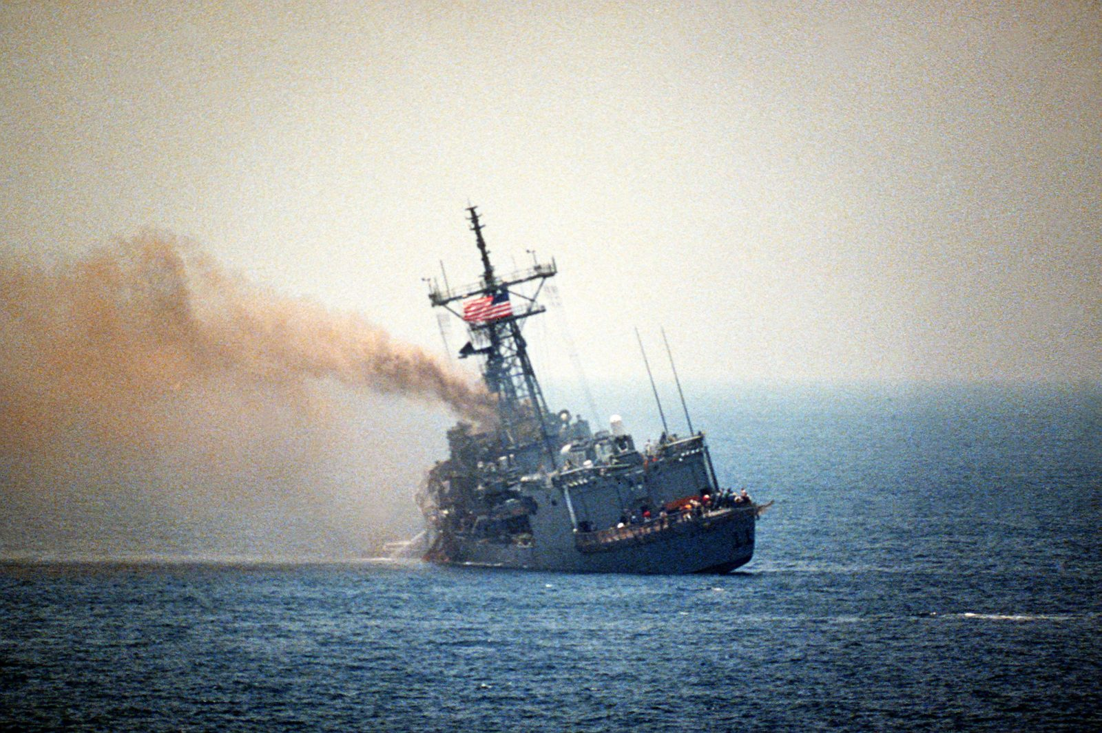 When Iraqi jet Aircraft Struck an American Frigate USS Stark and Killed 37 Sailors b