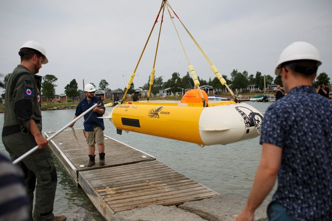 The ThunderFish Alpha, an autonomous submarine, was lowered into Lake Ontario last month to hunt for relics of a famed Canadian jet fighter program