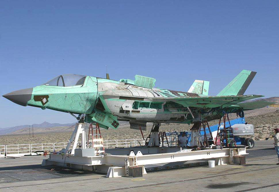 One of the Ground Test F-35Bs, known as BG-1, after a live-fire experiment