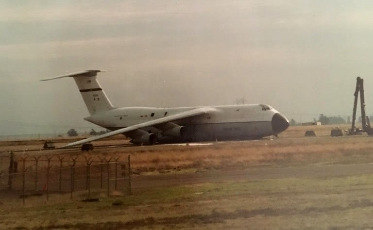 C-5A Galaxy After It Performed A Gear Up Landing At Travis AFB in 1983