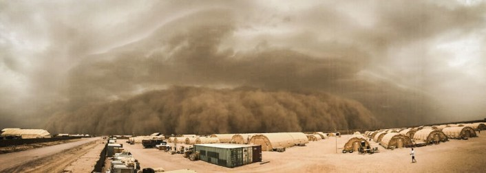 A thunderstorm collapses and causes air and dust to move through the atmosphere and transform into a sand storm at Nigerien Air Base 201, Niger, June 24, 2018. Air Base 201 was hit by four sandstorms throughout the last two weeks. (U.S. Air Force courtesy photo by Airman 1st Class Thomas Jamison)