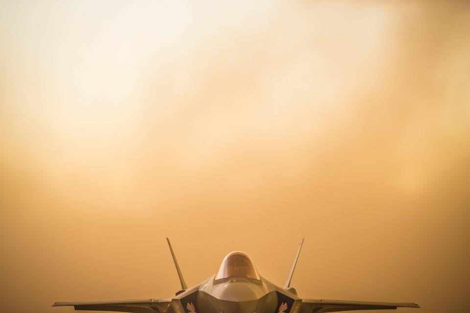 F-35s engulfed by a sand storm at Luke Air Force Base
