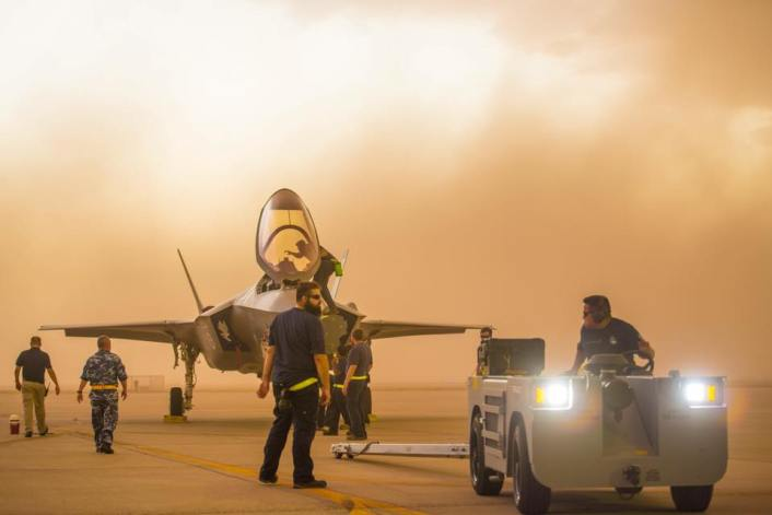Personnel moved the F-35 to shelter.