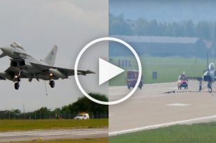 Video of Eurofighter Typhoon emergency landing and using the tail hook system
