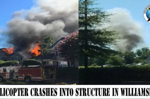 Helicopter crashes into structure in Williamsburg