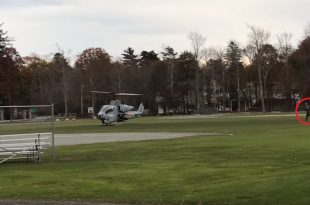 Watch: Marine Lands AH-1W Attack Helicopter at Ball Field To Retrieve Cell Phone