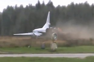 Russian Tupolev Tu-22M3 Made An Emergency Landing In A Field After Engine Failure