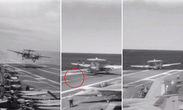 Video of E-2C Hawkeye's Aircraft Carrier Cable Mishap - 8 Injured