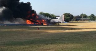 Douglas C-47 plane crash at Burnet Municipal Airport with 13 passengers on-board