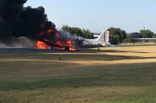 Douglas C-47 plane crash at Burnet Municipal Airport with 13 passengers on-board