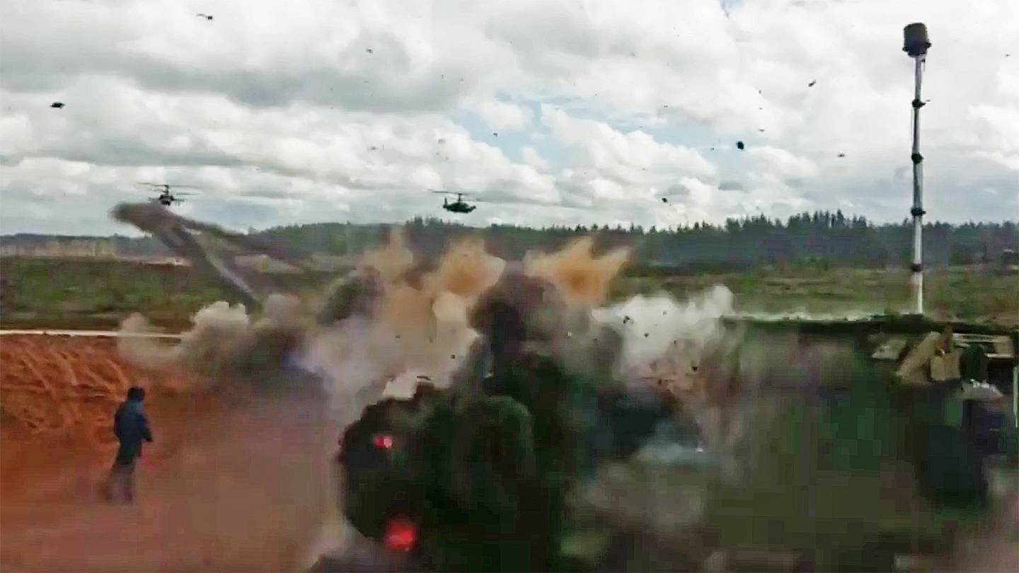 Watch: Russian KA-52 Helicopter Fire Rockets at Spectators During Exercise