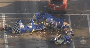 1 Dead & 1 injured in a aircraft crashed into vehicles force landing on road