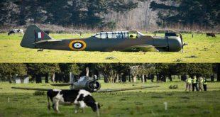 New Zealand Air Force Vintage plane crash lands near Ōhakea Air Force base