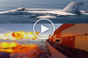 Video of F/A-18 Hornet guiding a Tomahawk cruise missile into a moving ship