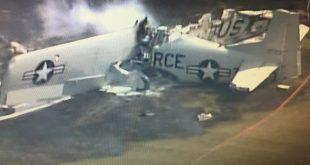 Historic plane North American T-28B Trojan crashed near Anoka County–Blaine Airport