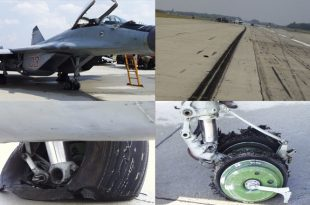 See what happened when MiG-29 wheel brake anti-skid controls fail