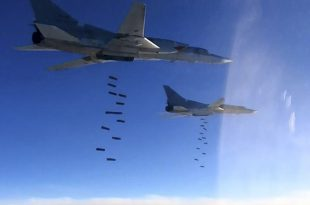Footage of Russian Bombers high altitude carpet bombing mission over Syria