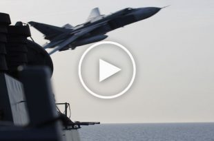 Watch: Soviet bomber crashed into the sea after buzzing a U.S. aircraft carrier