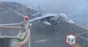 Video of AV-8B Harrier no nose gear vertical landing on padded stool