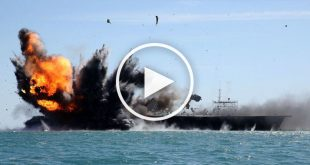 Video of Iran destroying a mock US aircraft carrier in naval drills
