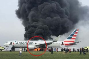 Watch: American Airlines on fire on Chicago runway