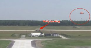 Video of pilot ejecting from Hungarian Gripen jet after belly landing