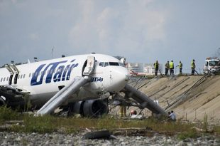 UTAir Passenger jet catches fire in after overshooting runway on landing at Sochi Airport Russia