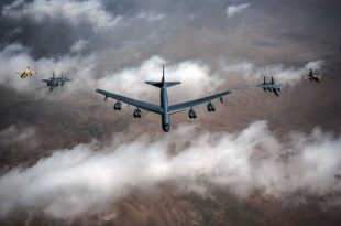 Watch: USAF B-52, F-15C and Moroccan air force F-16s fly in a formation