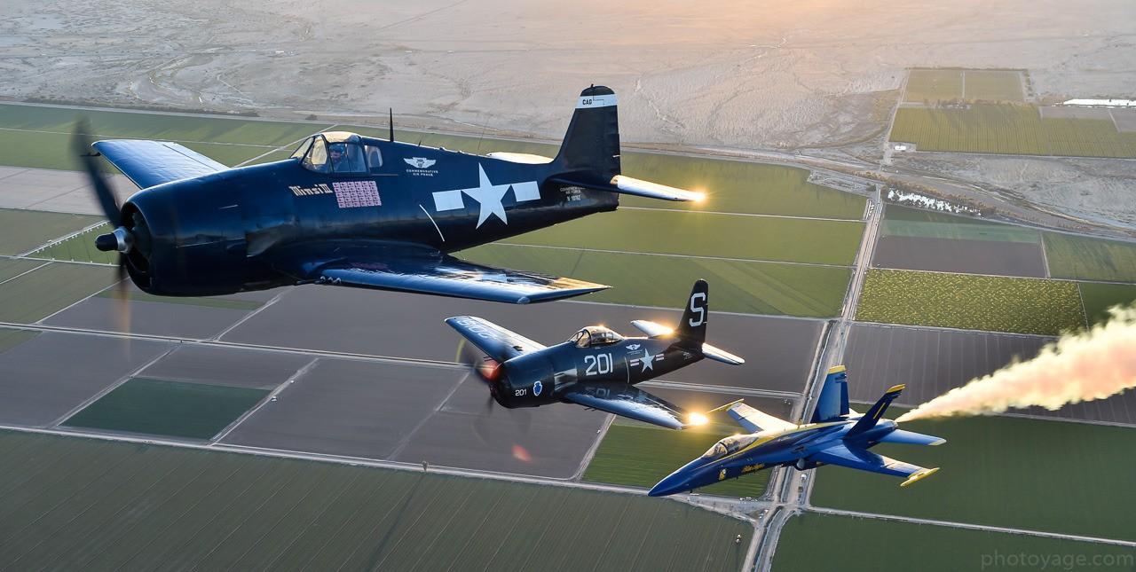 Blue Angels Heritage Flight - F6F Hellcat, F8F Bearcat & F-18 Hornet