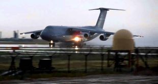 C-5 Galaxy Horror takeoff from Torrential rains pound Airfield