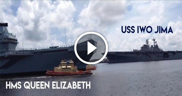 HMS Queen Elizabeth meet USS Iwo Jima in the USA