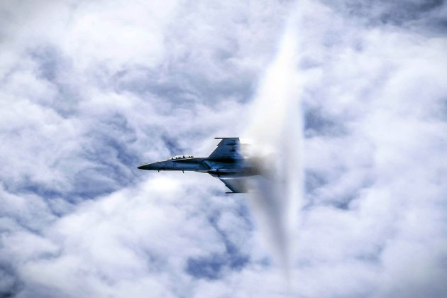 Watch: Navy F/A-18F Super Hornet Breaking the Sound Barrier